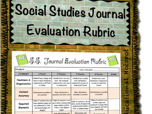 Social Studies Notebook Evaluation Rubric