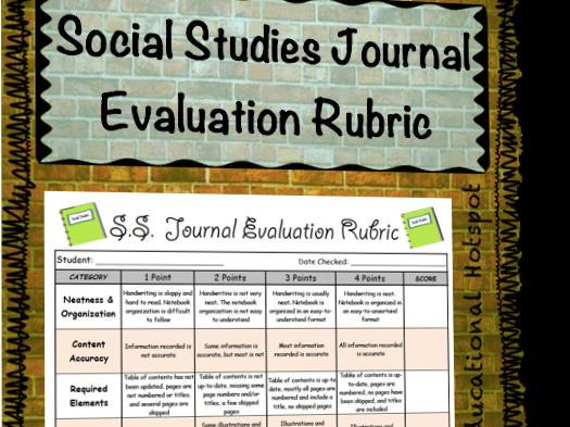 Social Studies Notebook Evaluation Rubric