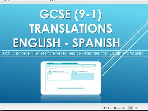 GCSE 9-1 Translation skills  -  English to Spanish