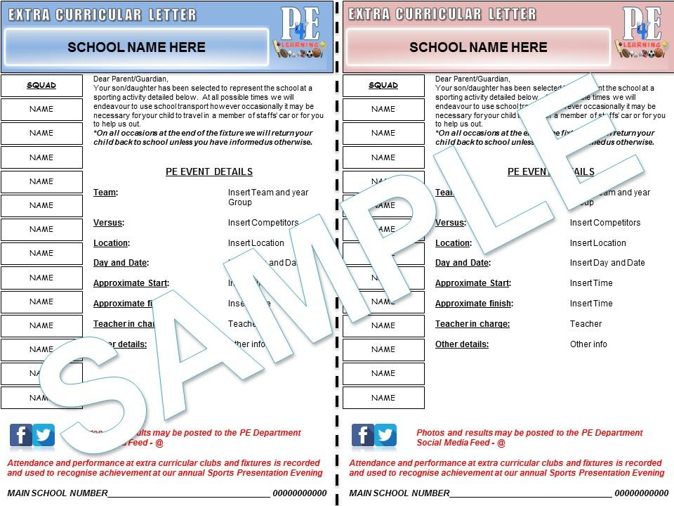 Extra Curricular & Fixture Letters with Team Sheet | PE4Learning
