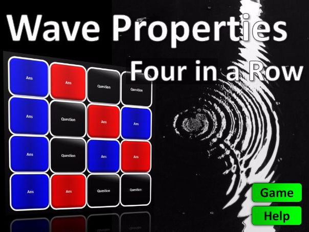 Four in a Row Interactive Quiz Game: Wave Properties