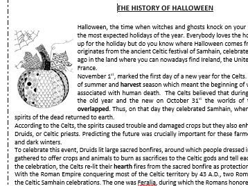 The history of Halloween - Reading Comprehension Worksheet / Vocabulary Worksheet