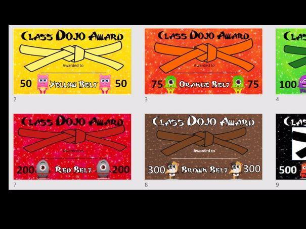 Class Dojo Reward Certificates