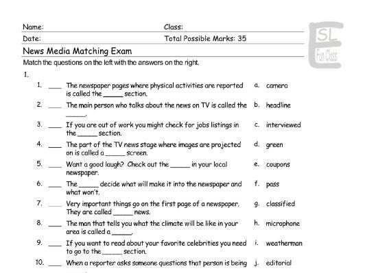 News Media Matching Exam