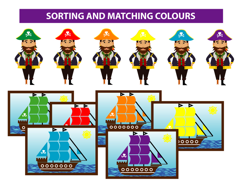 SORTING AND MATCHING, AND COLOUR RECOGNITION - PIRATE THEME