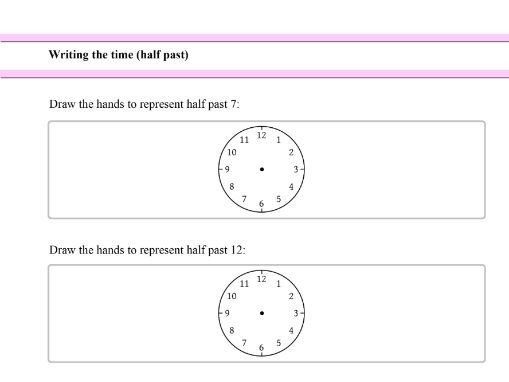 Writing the time (half past) for Year 1 students