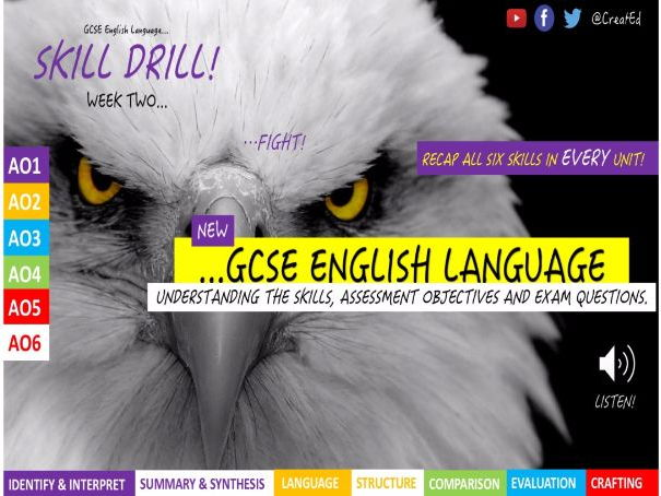 NEW GCSE English Language REVISION! SKILL DRILLING (AO1-6) Unit 1 & 2 BUNDLE, 3-4 week unit & ebook