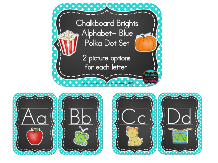 Chalkboard Brights Alphabet Cards: Blue Polka Dot Set
