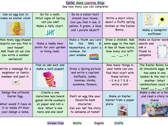 Easter Home Learning Bingo EYFS/KS1