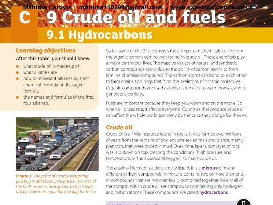 New (9-1) AQA GCSE Chemistry C9 Crude Oil and Fuel Revision Kit Videos,Notes, Questions, Past Papers