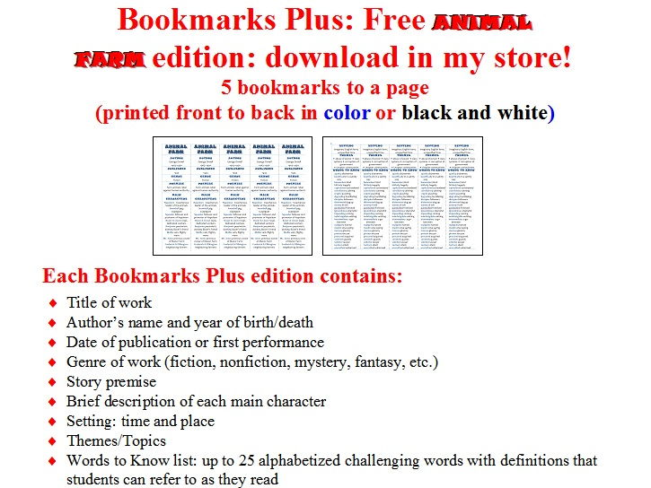 Crime and Punishment edition of Bookmarks Plus: Fun Freebie and Handy Little Reading Aid!