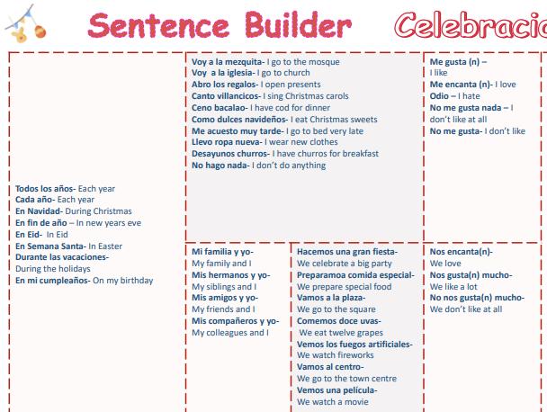 "Sentence builder  ""Celebraciones"""