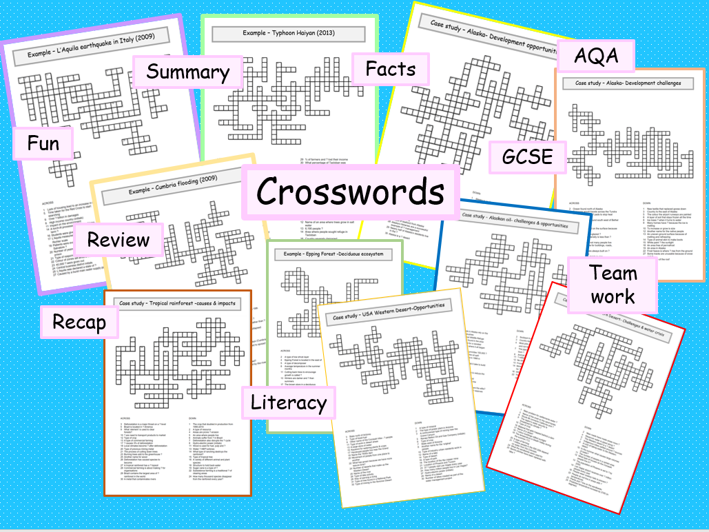 Paper 1 AQA geography crosswords revision case studies & examples