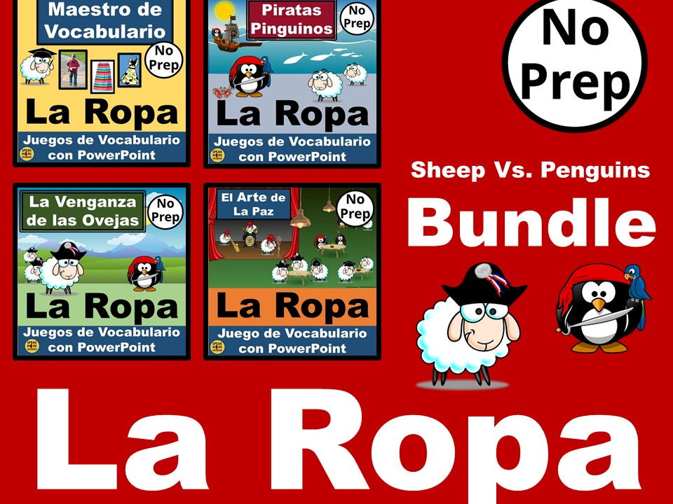 BUNDLE Ovejas Vs. Pingüinos. Interactive PowerPoint Games for Spanish Vocabulario  LA ROPA