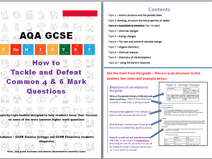 AQA GCSE Chemistry revision (1-9) Paper 1&2: Common 4&6 mark questions and revision guide