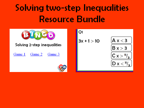 Solving two-step Inequalities: 2 resources