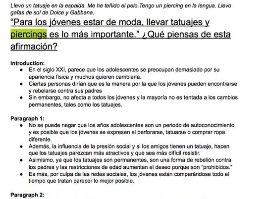 Spanish AS Essay Plans