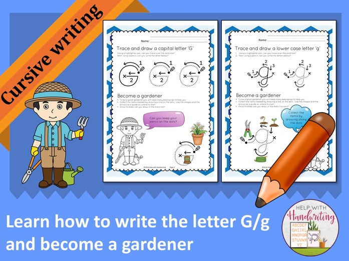 Learn how to write the letter G (Cursive style) and become a gardener