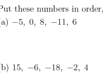 Ordering and comparing integers worksheet (with solutions)