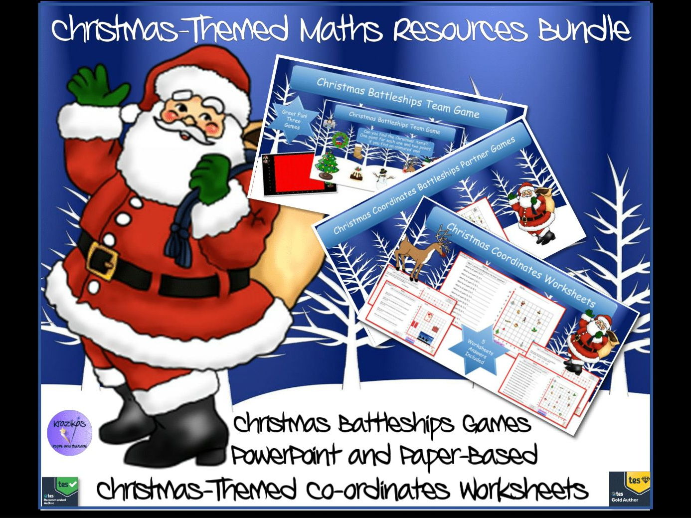 Christmas Coordinates Bundle - Christmas Themed Team and Partner game Battleships, Coordinate in the First Quadrant Worksheets