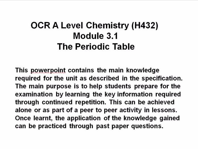 Ocr a level chemistry h432 module 31 the periodic table cover image urtaz Images