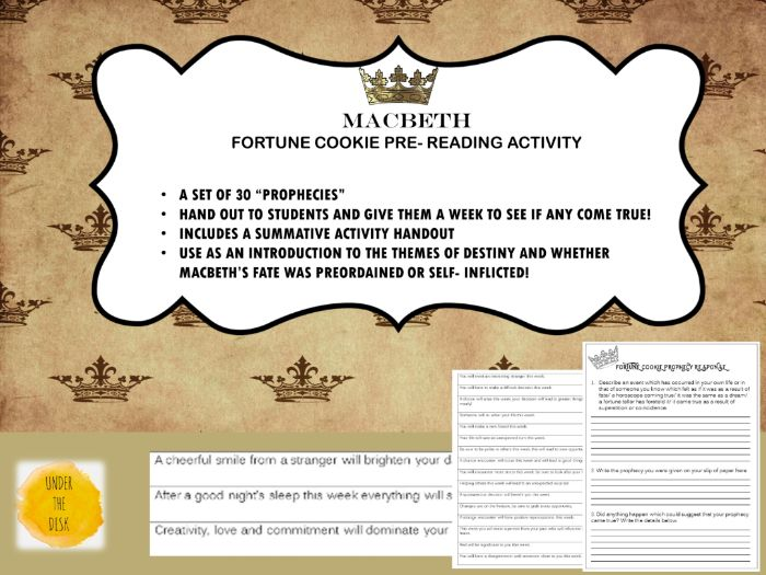 Macbeth Fortune Cookie Prophecy Pre- Reading  Activity
