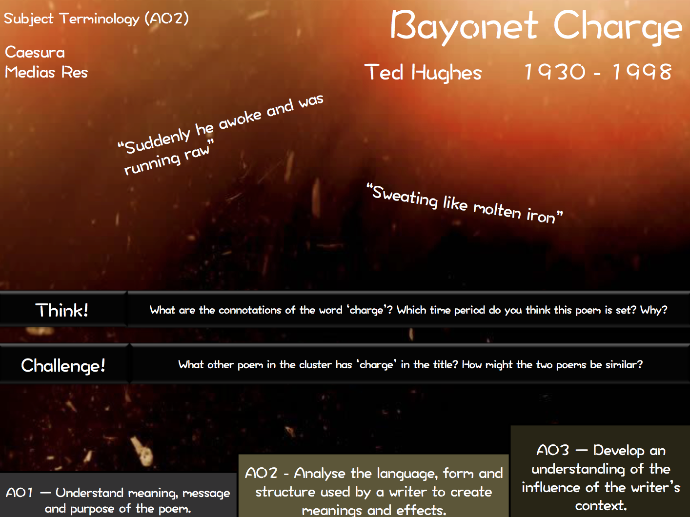 AQA Poetry - Bayonet Charge - The Emigree - Storm on the Island