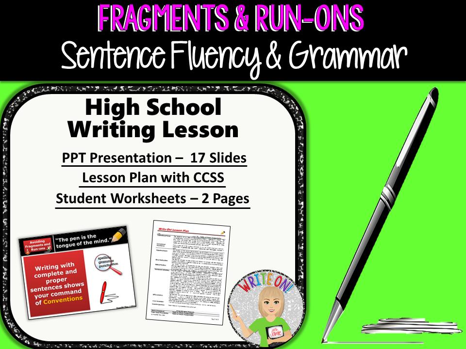 Sentence Fragments Run On Sentences Writing Fluency Grammar