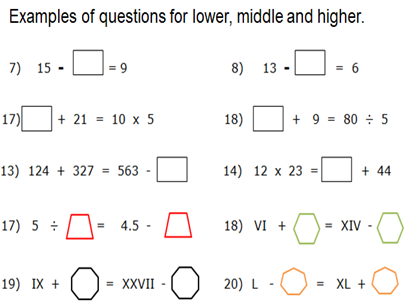 YEAR 6 KS2 BALANCING EQUATIONS LOW, MID AND HIGHER SHEETS. WORD & PDF. ALL ANSWERS PROVIDED.