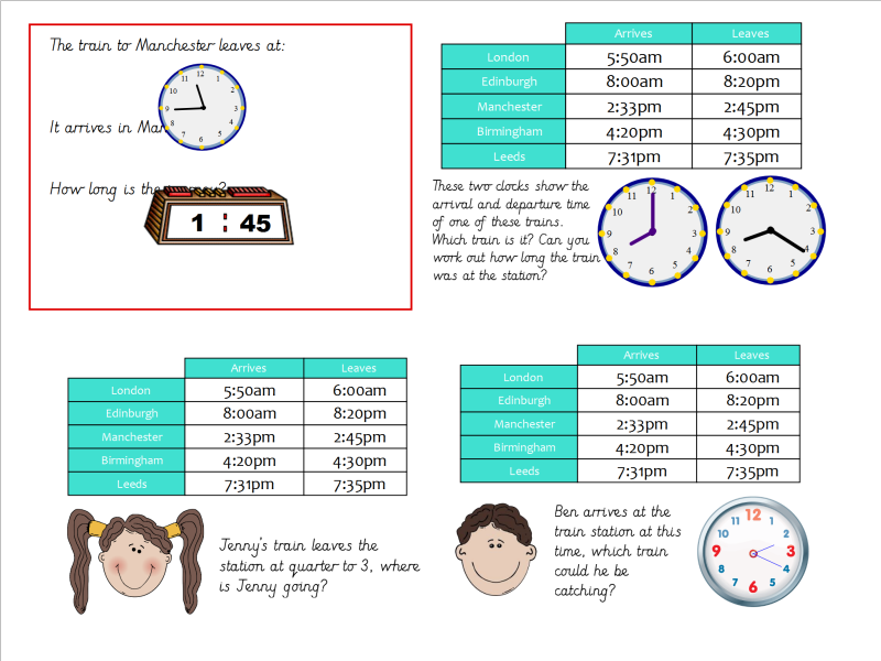Year 3 Analogue to Digital Time (Reading Train Timetables)