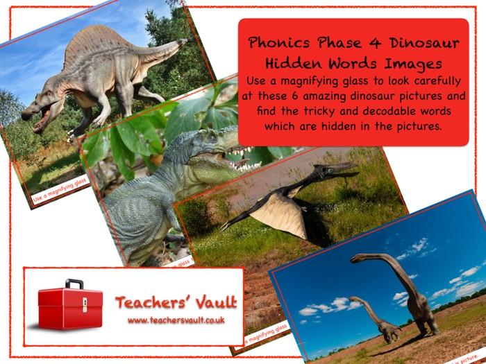 Phonics Phase 4 Dinosaur Hidden Words Images