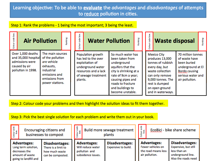 KS4 Geography: reducing pollution in cities. Case study: Mexico City. Edexcel B and IGCSE.