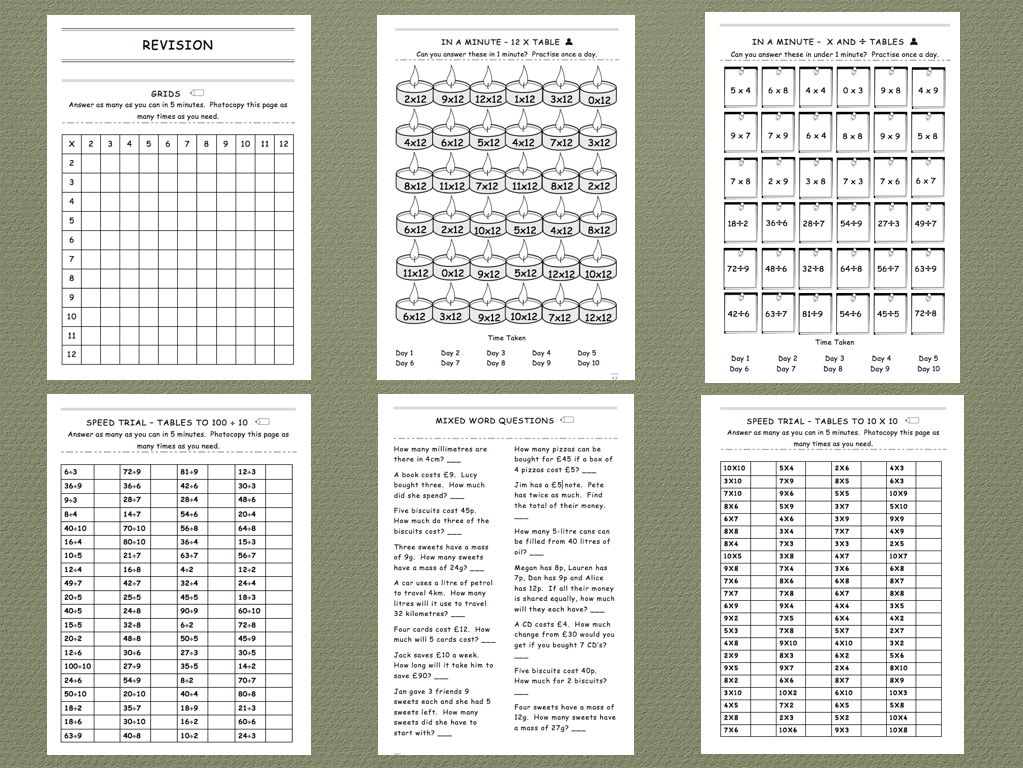 Times and Division Tables to 12 x 12 - Comprehensive Intervention Workbook