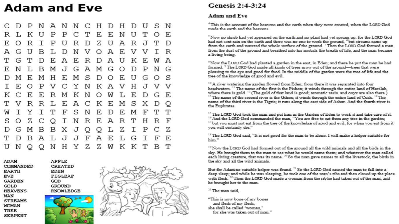 Adam and Eve Activity Pack
