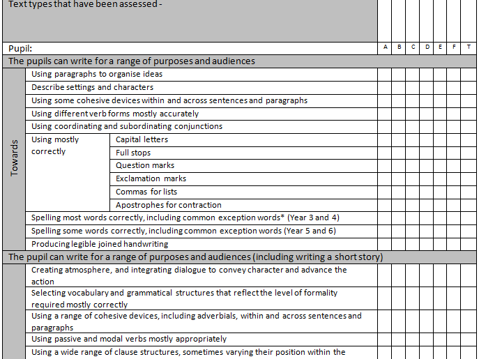Writing Assessment Grid for Year 6