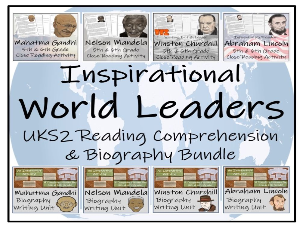 UKS2 History - Inspirational World Leaders Reading Comprehension  & Biography Mega Bundle