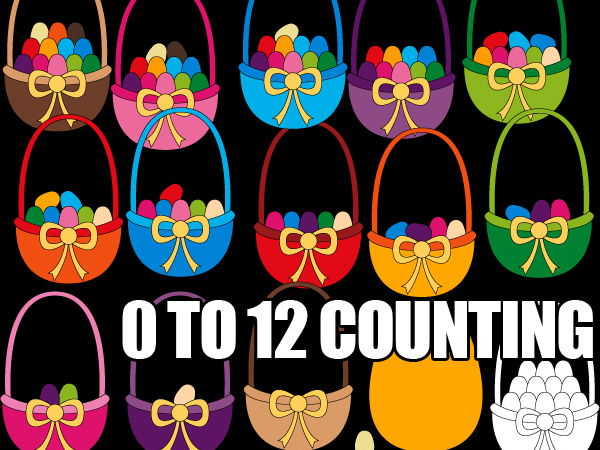 Counting eggs in basket clipart - fun Easter Math clipart