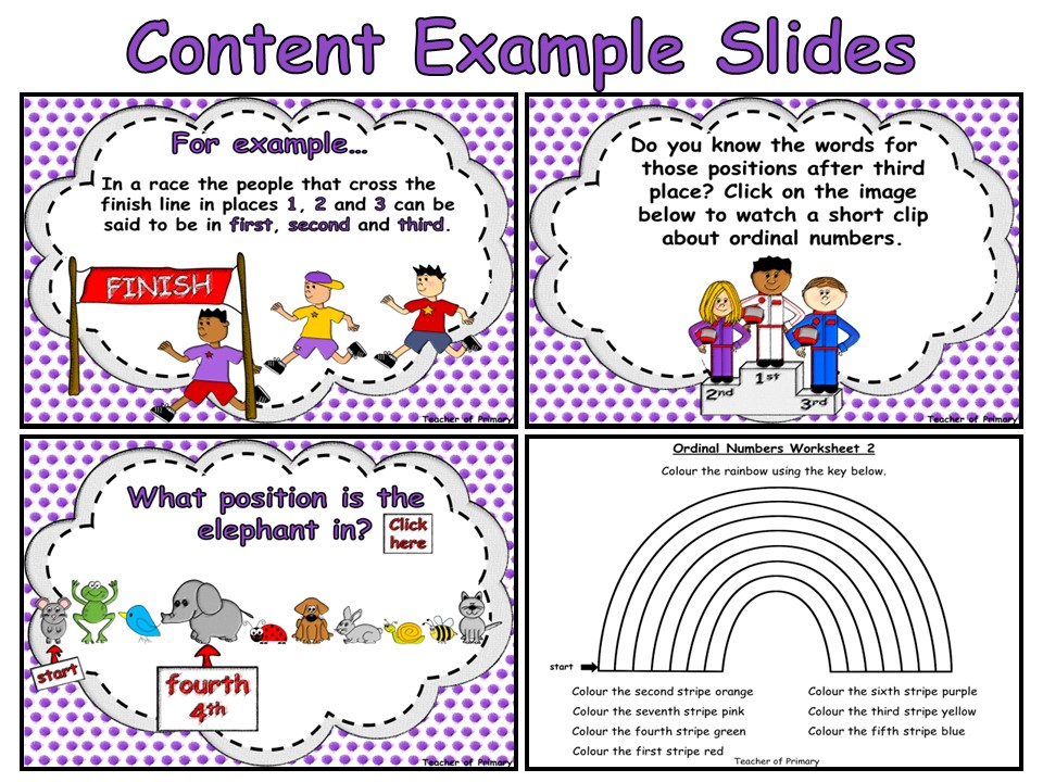 Ordinal Numbers - PowerPoint presentation and worksheets