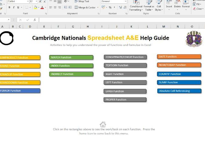 Spreadsheet A&E - OCR Cambridge Nationals Information Technologies