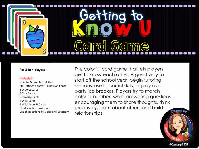 Getting to Know You Card Game