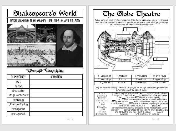 Shakespeare Booklet: Exploring Shakespeare's World (KS3)