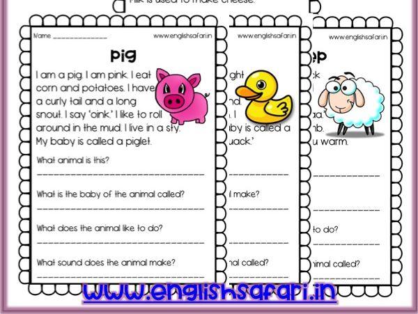 Reading Comprehension - farm animals