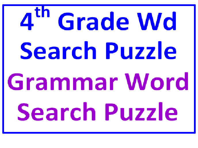 Fourth Grade Word Search Puzzle PLUS Grammar Word Searcn Puzzle (2 Puzzles)