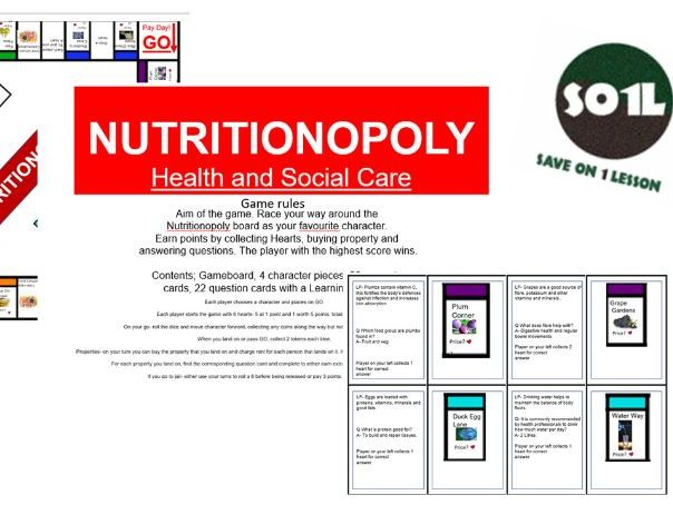 Nutritionopoly, health and social care, child care, unit 6, level2, level 3, health, well being.