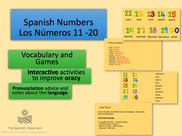 Spanish - Numbers 11 - 20  - Los Números 11 - 20