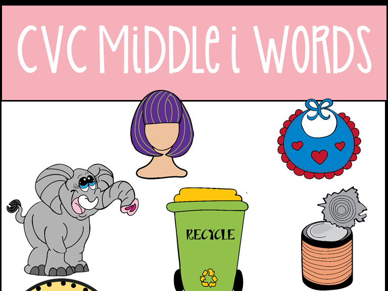 CVC Middle I Words Clip Art