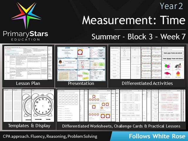 YEAR 2 - Time : Measurement- White Rose - WEEK 7 - Block 3 - Summer- Differentiated Pack