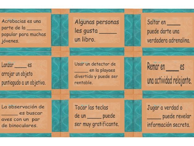 Free Time and Hobbies Spanish Card Game