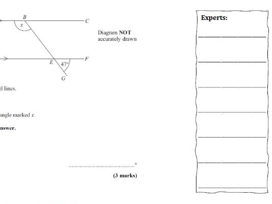 Angles in Parallel Lines Exam Questions