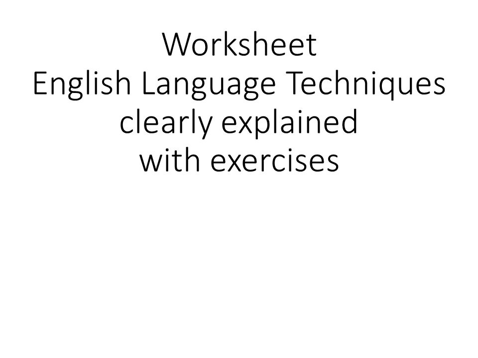 English Language Techniques - A Handy Guide